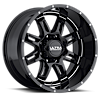241 Gunner Gloss Black with Milling and Clear Coat - 20x10