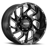 221 Carnage Gloss Black with Milled Accents and Clear Coat - 20x10
