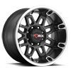 811 Conquest Satin Black with Diamond Cut Accents and Satin Clear Coat - 20x12