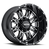 249 Predator II Gloss Black with Milling and Clear Coat - 20x12
